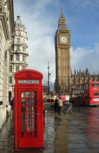 Phone Booth en the Big Ben in London, England, United Kingdom