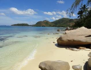 Strand, Praslin, Seychellen, vakantie