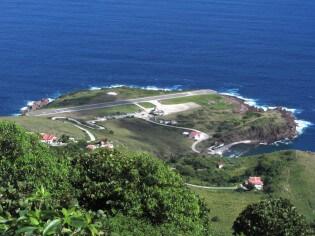 Vliegen naar vliegveld Saba