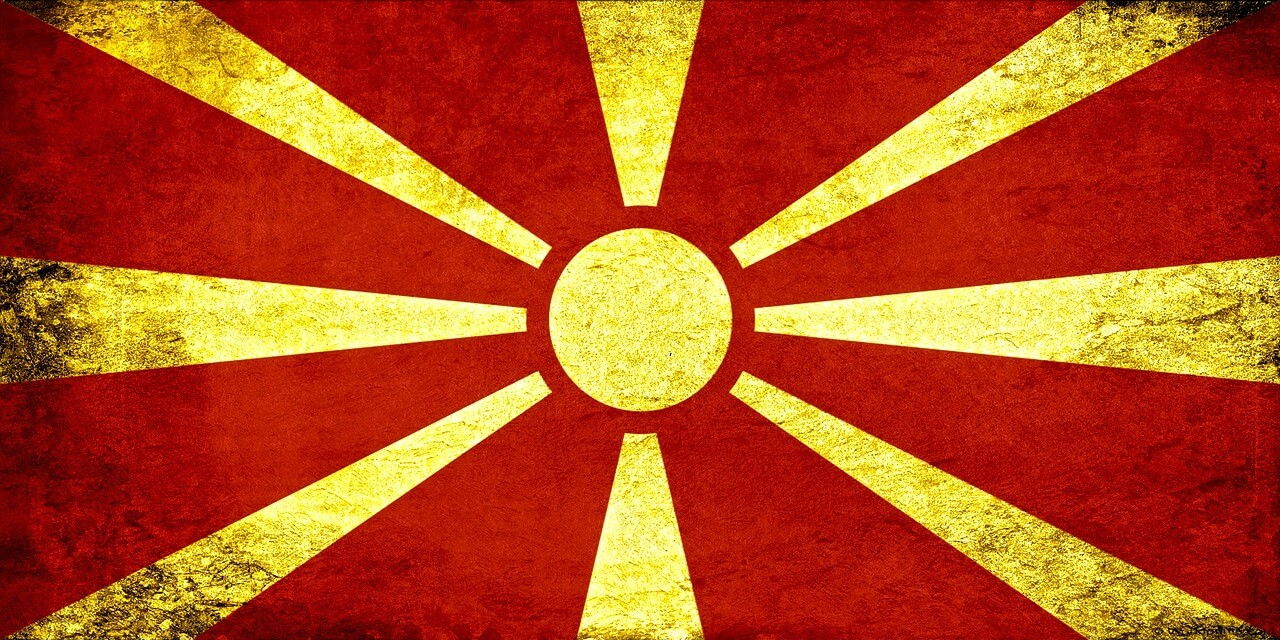 De vlag van Macedonië